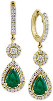 Effy Final Call Emerald (1-1/8 ct. t.w.) and Diamond (1/2 ct. t.w.) Drop Earrings in 14k Gold