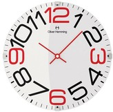 "Oliver Hemming Wall Clock with Number Dial - Black/Red (12"")"