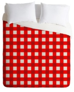Deny Designs Holli Zollinger Red Gingham King Duvet Set Bedding