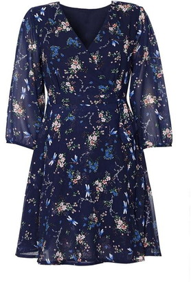 Yumi Floral Dragonfly Print Wrap Dress