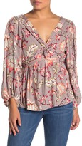 Angie Printed Twist Knot Blouse