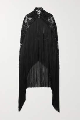 Naeem Khan Fringed Embellished Embroidered Tulle Cape - Black
