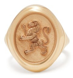 Retrouvai - Lion Gold Signet Ring - Womens - Gold