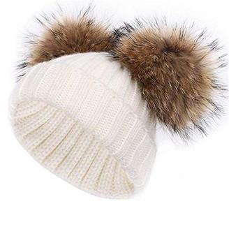 Feifanshop Women's Warm Winter Ribbed Knit Crochet Faux Fur Double Pom Pom Ball Bobble Hat Double Pom Pom Beanie (Grey)(Size: One Size)