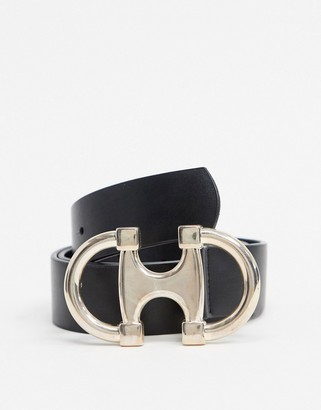 ASOS DESIGN double circle snaffle buckle waist and hip jeans belt in black