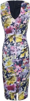 Black Halo Floral-print Satin-twill Dress