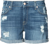 7 For All Mankind distressed denim shorts - women - Cotton/Spandex/Elastane - 24