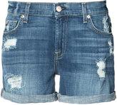 7 For All Mankind distressed denim shorts - women - Cotton/Spandex/Elastane - 25