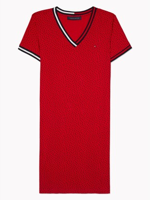 Tommy Hilfiger Essential V-Neck Dot T-Shirt Dress