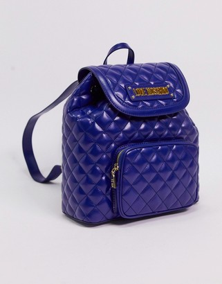 Love Moschino quilted backpack with front pocket in navy