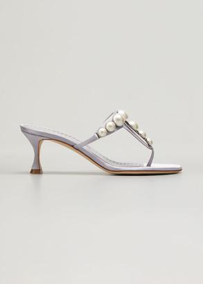 Manolo Blahnik Perlosa Pearly Stud Kitten-Heel Thong Sandals
