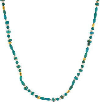 Gurhan Delicate Hue 24K 4.58 Ct. Tw. Turquoise & 2-3Mm Pearl Necklace