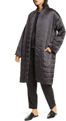 Eileen Fisher Quilted Silk Coat