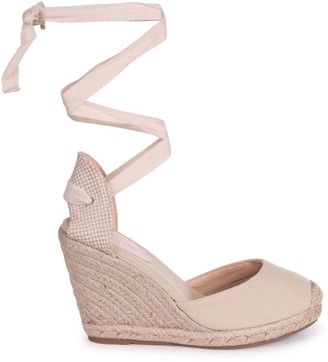 Linzi MEGHAN - Beige Canvas Closed Toe Espadrille Wedge With Tie Up Straps
