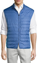 Luciano Barbera Quilted Tech Puffer Vest, Blue