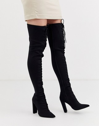 Asos Design DESIGN Knowledge lace up thigh high boots in black