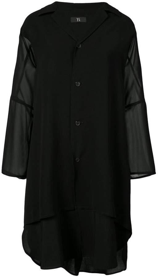 Y's sheer sleeve long line shirt