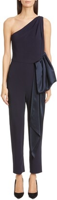 Cushnie Ruffle Waist One-Shoulder Tapered Jumpsuit