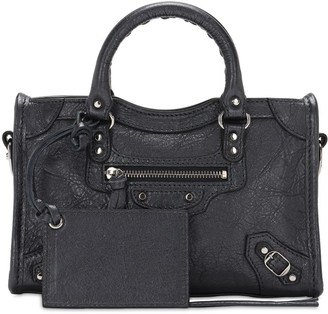 Balenciaga Nano City Metal Leather Top Handle Bag