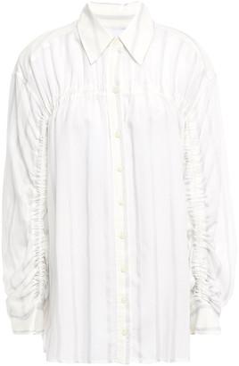 Current/Elliott Ruched Striped Voile Shirt