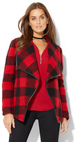 New York & Co. Faux-Leather Trim Flyaway Coat - Buffalo Plaid