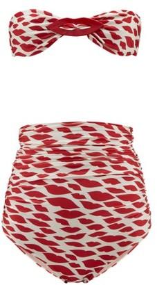 Adriana Degreas Bacio Lip-print Bandeau High-rise Bikini - Womens - Red White