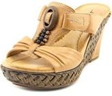 Earth Eden Open Toe Leather Wedge Sandal.