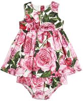Dolce & Gabbana Rose Print Cotton Dress & Diaper Cover