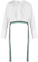 Diane von Furstenberg Ribbon-trimmed cropped cotton blouse
