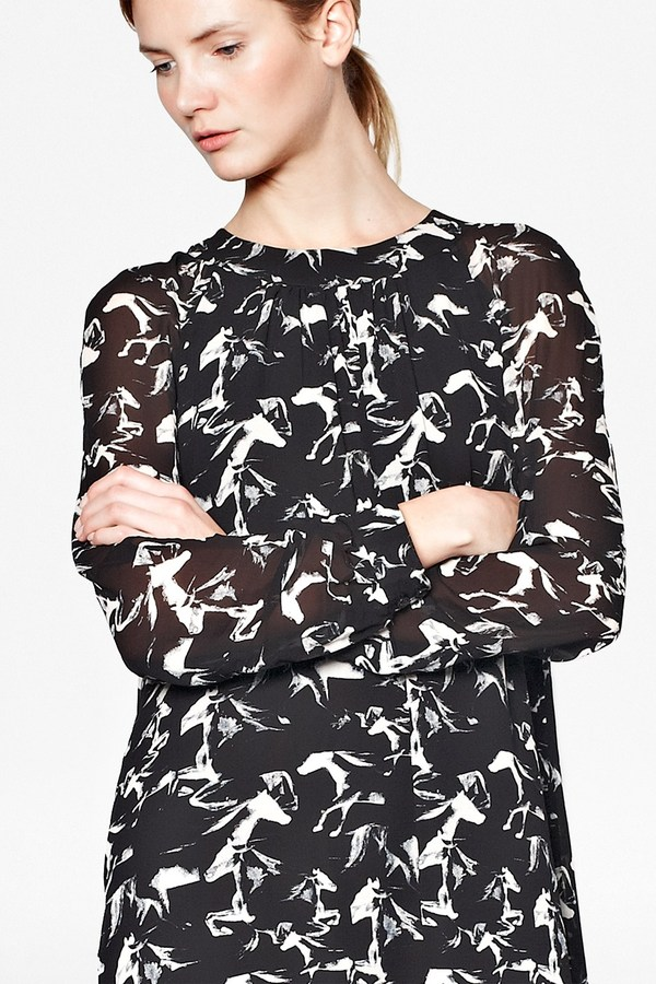 French Connection Hatched Horses Tunic Dress