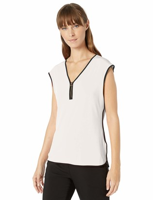 Calvin Klein Women's Piped Sleeveless TOP with Zipper