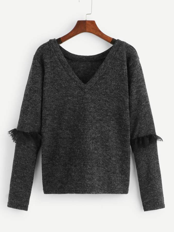 Shein Contrast Lace V-Neck Jumper
