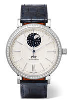IWC SCHAFFHAUSEN Portofino Automatic Moon Phase 37 Alligator, Stainless Steel, Mother-of-pearl And Diamond Watch