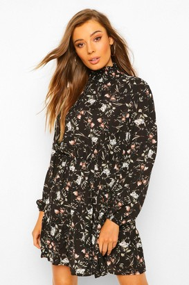 boohoo Floral Print High Neck Skater Dress