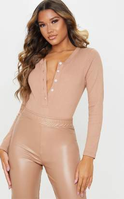 PrettyLittleThing Camel Knitted Rib Button Front Bodysuit
