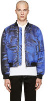 Moschino Blue Drawing Bomber Jacket
