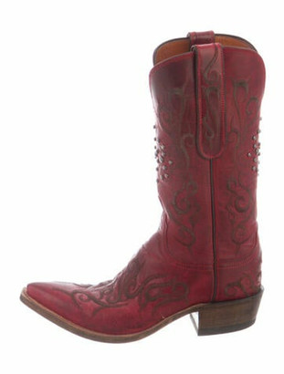 Lucchese Leather Studded Accents Western Boots Red