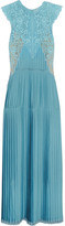 Stella McCartney Adele Guipure Lace-paneled Pleated Satin Gown - Light blue