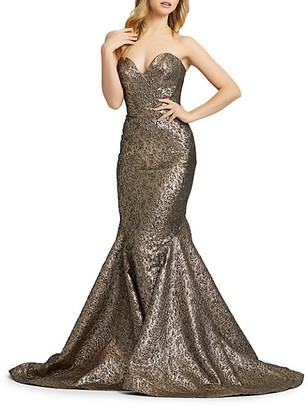 Mac Duggal Metallic Brocade Strapless Mermaid Gown