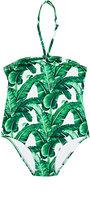 Dolce & Gabbana Banana-Leaf-Print Halter Swimsuit-GREEN