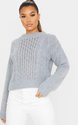 PrettyLittleThing Grey Cable Front Crop Jumper