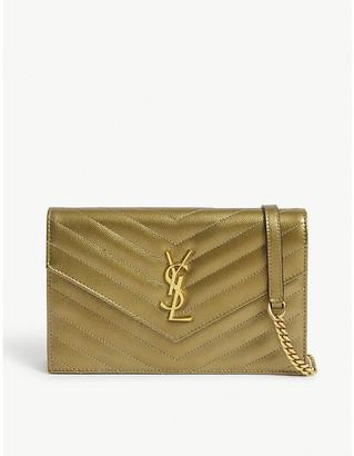 Saint Laurent Monogram metallic leather wallet-on-chain