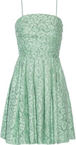 Moschino Gathered cotton-blend lace mini dress