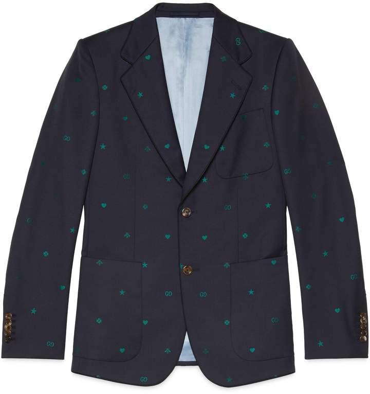 Gucci Symbols wool jacquard jacket