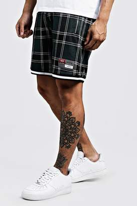 Check Jacquard Shorts With Sports Tape Detail