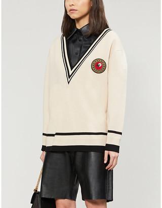 Sandro Graphic-applique woven sweatshirt