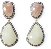 Caviar Dreams Jewelry Collection Peach and Yellow Sapphire Drop Earrings