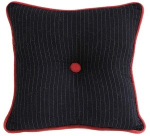 """HiEnd Accents Tufted 18""""x18"""" Pinstripe Pillow"""