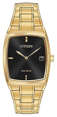 Citizen Eco-Drive Goldtone Tonneau Analog Bracelet Watch