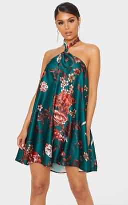 PrettyLittleThing Emerald Green Floral Satin Knot Detail Halterneck Shift Dress